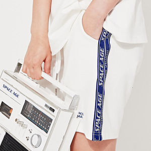 side tape short-pants (white)